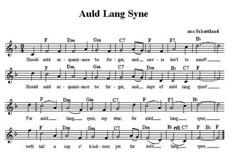 Lyrics to Auld Lang Syne